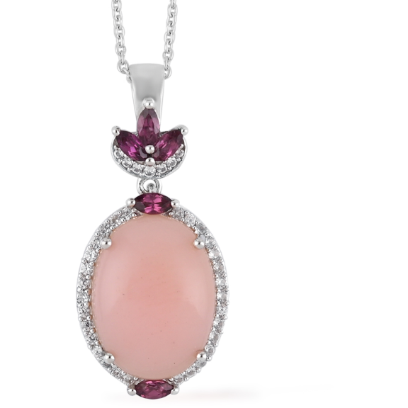 Peruvian Pink Opal & Multi Gemstone Pendant Necklace in Platinum over Sterling Silver Gemstone Collectors U.S.