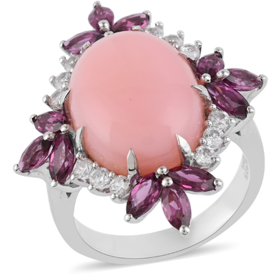 Peruvian Pink Opal & Multi Gemstone Ring in Platinum over Sterling Silver Gemstone Collectors U.S.