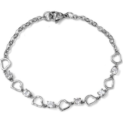 "Petalite Heart Bracelet in Surgical Grade Stainless Steel 7.25"" Gemstone Collectors U.S."