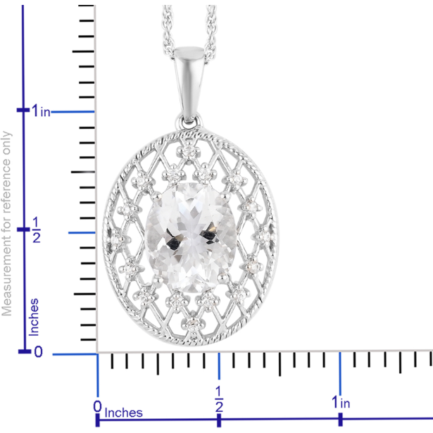 Petalite & White Zircon Necklace in Platinum over 925 Sterling Silver Gemstone Collectors U.S.