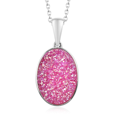 Pink Drusy Quartz Pendant Necklace in Platinum over Sterling Silver Gemstone Collectors U.S.