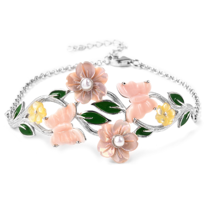 Pink Mother of Pearl & Multi Gemstone Floral Bracelet in Sterling Silver Gemstone Collectors U.S.
