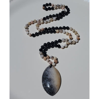 Pink Opal, Black Agate & Black Jasper Mala Necklace Mindful Creations by Gloria