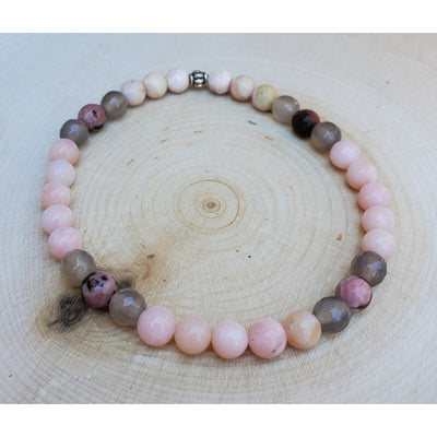 Pink Opal, Grey Agate, Rhodonite & Rhodocrosite Bracelet Mindful Creations by Gloria