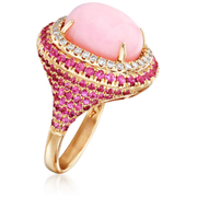 Pink Opal, Pink Sapphire & Diamond 14k Rose Gold Double Halo Ring Gemstone Collectors U.S.
