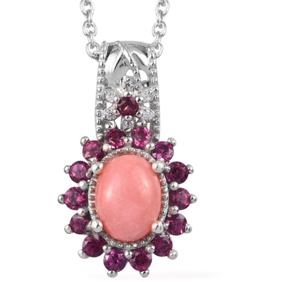 Pink Opal, Rhodolite Garnet & Zircon Necklace in Platinum over Sterling Silver Gemstone Collectors U.S.