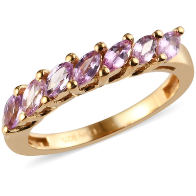 Pink Sapphire Band Ring in 14K Yellow Gold over Sterling Silver Gemstone Collectors U.S.