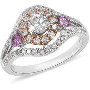 Pink Sapphire & Diamond Ring in 14K Rose and White Gold Gemstone Collectors U.S.