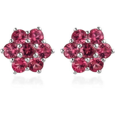 Pink Tourmaline Cluster Earrings in Platinum over Sterling Silver Gemstone Collectors U.S.