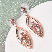 Pink Tourmaline Designer Floral Dangle Earrings in Rose Gold over Sterling Silver Gemstone Collectors U.S.