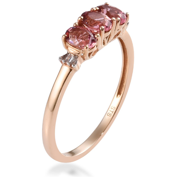 Pink Tourmaline & Diamond Accent 3-Stone Ring in 10K Rose Gold Gemstone Collectors U.S.