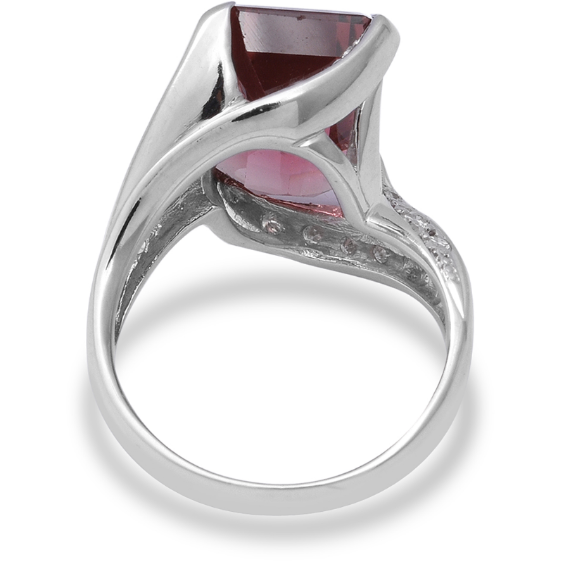 Pink Tourmaline & Diamond Swirling Bypass Ring in 900 Platinum Gemstone Collectors U.S.