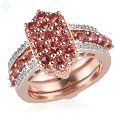 Pink Tourmaline Stack-able Ring in Rose Gold over Sterling Silver Gemstone Collectors U.S.