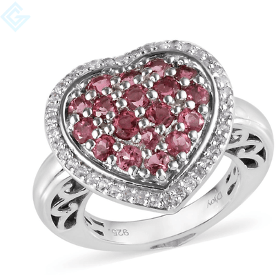 Pink Tourmaline & Zircon Cluster Heart Ring in Platinum over Sterling Silver Gemstone Collectors U.S.