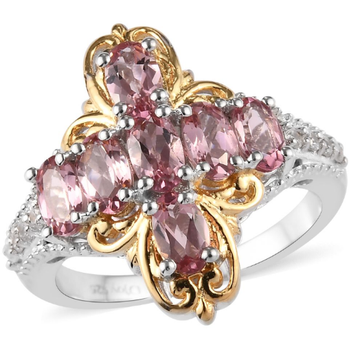 Pink Tourmaline & Zircon Cluster Ring in Yellow Gold and Platinum over Sterling Silver Gemstone Collectors U.S.