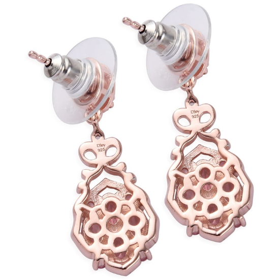 Pink Tourmaline & Zircon Dangle Earrings in Rose Gold over Sterling Silver Gemstone Collectors U.S.