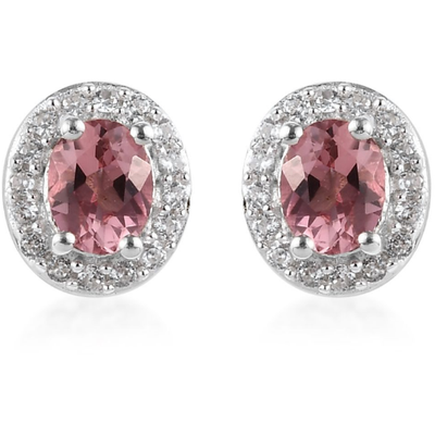Pink Tourmaline & Zircon Halo Earrings in Platinum over Sterling Silver Gemstone Collectors U.S.