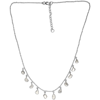"Polki Diamond Necklace 18-20"" in Platinum over Sterling Silver 2.00ctw Gemstone Collectors U.S."