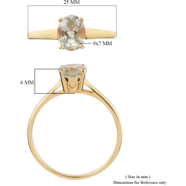 Prasiolite Oval Solitaire Ring in Yellow Gold over Sterling Silver Gemstone Collectors U.S.