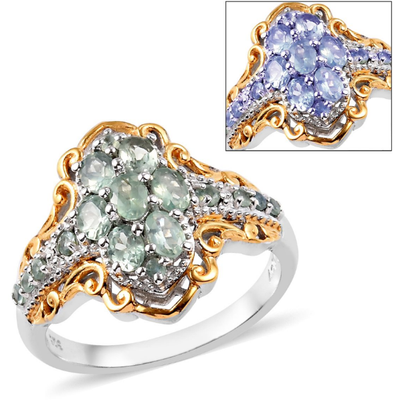 Premium Alexandrite Cluster Ring in Yellow Gold & Platinum over Sterling Silver Gemstone Collectors U.S.