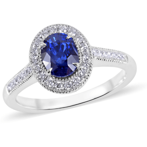 Premium Blue Ceylon Sapphire, Diamond Halo Ring in solid 18K White Gold Gemstone Collectors U.S.