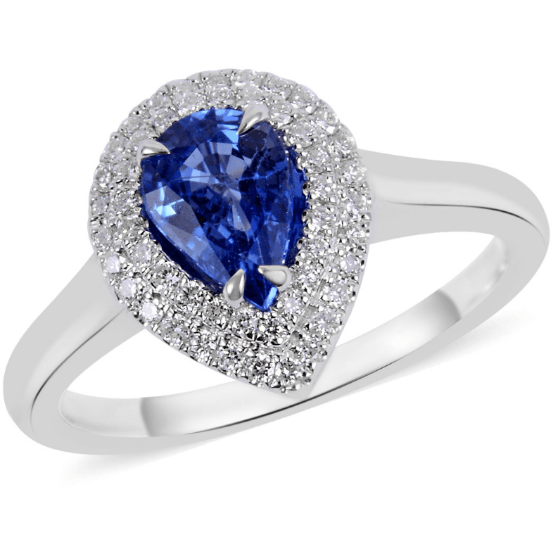 Premium Ceylon Blue Sapphire, Diamond (0.20ct) Ring in solid 18K White Gold 1.05ctw Gemstone Collectors U.S.