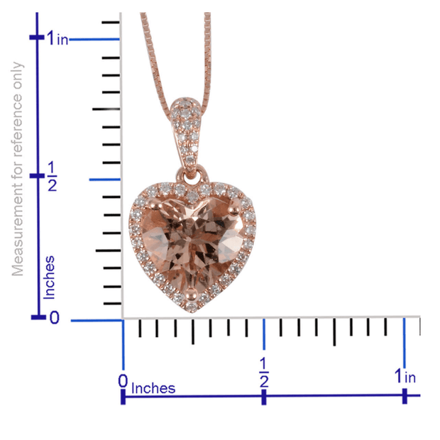 "Premium Morganite & Diamond Heart Necklace in 18K Rose Gold (18"") Gemstone Collectors U.S."
