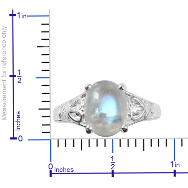 Rainbow Moonstone Solitiare Ring in Platinum over Sterling Silver Gemstone Collectors U.S.