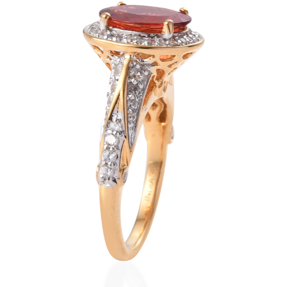 Red Andesine Labradorite & Zircon Halo Ring in Yellow Gold over Sterling Silver Gemstone Collectors U.S.