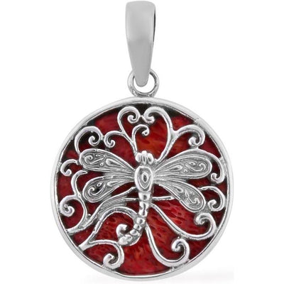 Red Sponge Coral & Dragonfly Pendant in Sterling Silver Gemstone Collectors U.S.