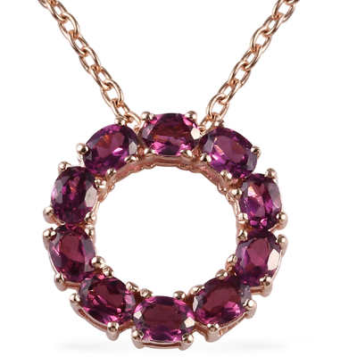 Rhodolite Garnet Circle Pendant in Vermeil 14K Rose Gold over Sterling Silver Gemstone Collectors U.S.