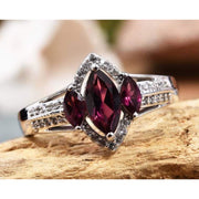 Rhodolite Garnet Marquise 3 stone and Zircon Ring in Platinum over 925 Sterling Silver 2.15 ctw Gemstone Collectors U.S.