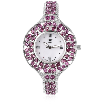 Rhodolite Garnet & White Zircon Butterfly Engraved Bracelet Watch in Sterling Silver Gemstone Collectors U.S.