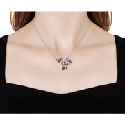 Rhodolite Garnet & White Zircon Butterfly Necklace in Platinum over Sterling Silver Gemstone Collectors U.S.