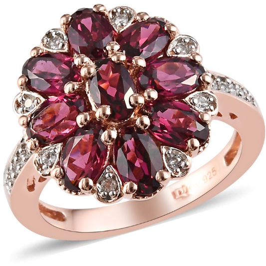 Rhodolite Garnet & White Zircon Cluster Ring in Rose Gold over Sterling Silver Gemstone Collectors U.S.
