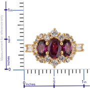 Rhodolite Garnet & White Zircon Ring in 14K Yellow Gold over Sterling Silver Gemstone Collectors U.S.