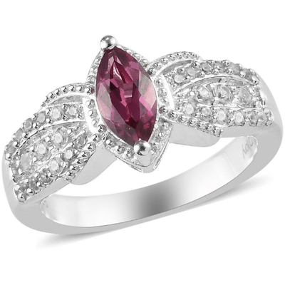 Rhodolite Garnet & White Zircon Ring in Platinum over Sterling Silver Gemstone Collectors U.S.