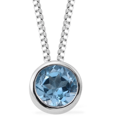 Round Bezel Set Swiss Blue Topaz Necklace in Platinum over Sterling Silver Gemstone Collectors U.S.