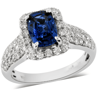 Royal Ceylon Blue Sapphire & Diamond Ring in 14K White Gold Gemstone Collectors U.S.