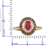 Rubellite, Champagne & White Diamond Ring in Yellow Gold over 925 Sterling Silver Gemstone Collectors U.S.
