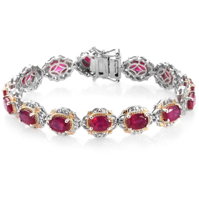 Ruby Bracelet in Yellow Gold & Platinum Over Sterling Silver Gemstone Collectors U.S.