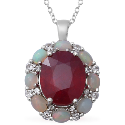 "Ruby, Ethiopian Opal & Zircon Pendant Necklace 18"" in Platinum over Sterling Silver Gemstone Collectors U.S."