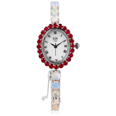 Ruby & Ethiopian Welo Opal EON 1962 Bolo Watch In Sterling Silver Gemstone Collectors U.S.