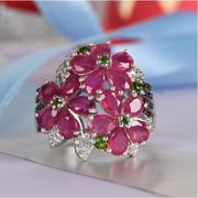 Ruby & Multi Gemstone Floral Ring in Platinum over Sterling Silver Gemstone Collectors U.S.