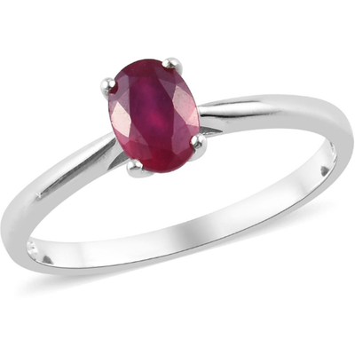 Ruby Oval Solitaire Ring in Platinum over Sterling Silver Gemstone Collectors U.S.
