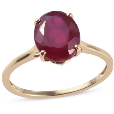 Ruby Oval Solitiare Ring in 10K Yellow Gold Gemstone Collectors U.S.