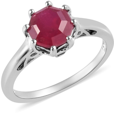 Ruby Solitiare Ring in Platinum over Sterling Silver Gemstone Collectors U.S.