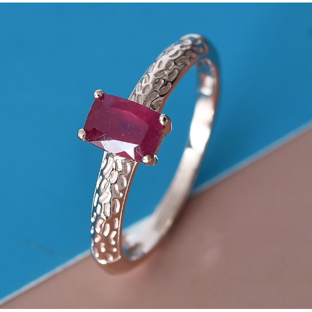 Ruby Solitiare ring in Rose Gold over Sterling Silver Gemstone Collectors U.S.