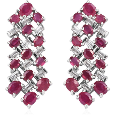 Ruby & White Topaz Drop Earrings in Platinum over Sterling Silver Gemstone Collectors U.S.