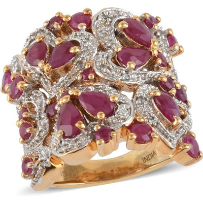 Ruby & White Zircon Cluster Ring in Vermeil 14K Yellow Gold over Sterling Silver Gemstone Collectors U.S.